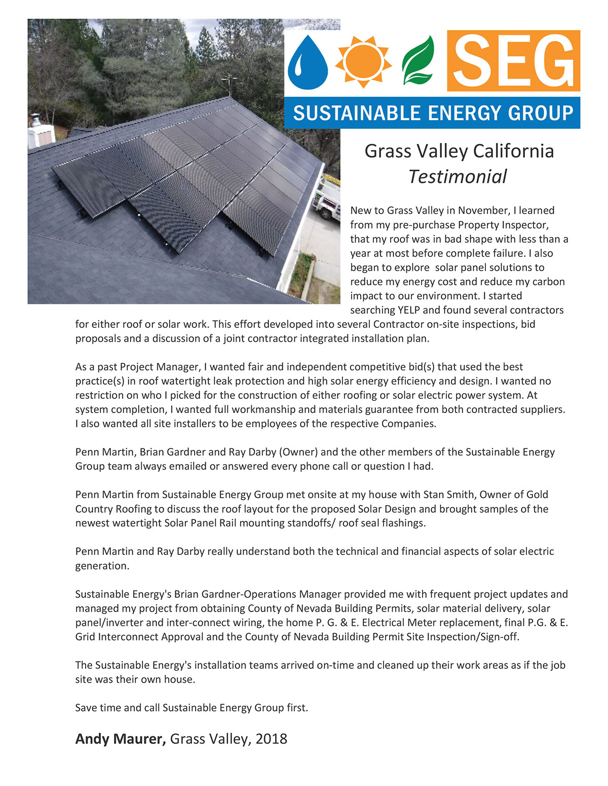 Residential Solar - Sustainable Energy Group