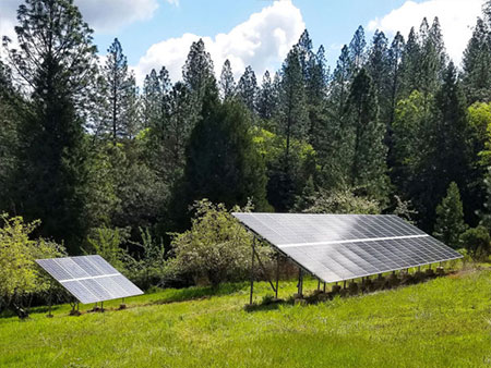 Off grid solar installation in Northern California