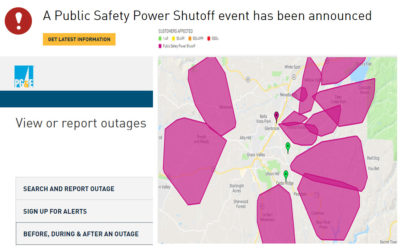 pg&e power shut down outage nevada county, ca , grass valley, nevada city california