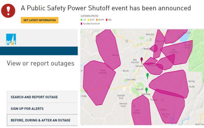pg&e power shut down outage nevada county, ca , grass valley, nevada city california