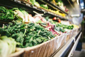 Baskets of bulk vegetables.