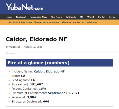 caldor fire snapshot