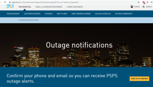 nevada county pg&e power outage alerts psps