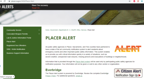 placer county fire evacuation alerts